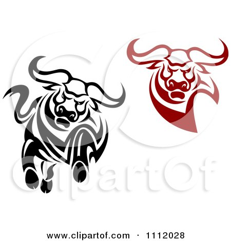 Clipart Black And White And Red Angry Bulls - Royalty Free Vector Illustration by Vector Tradition SM