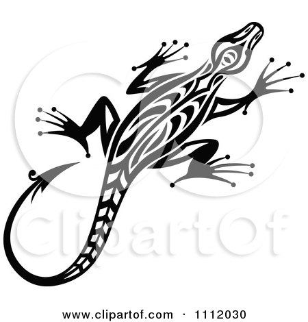 Clipart Black And White Tribal Lizard 5 - Royalty Free Vector Illustration by Vector Tradition SM