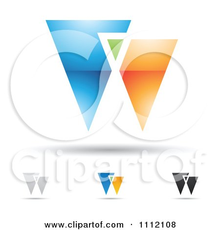 Clipart Abstract Letter W Icons With Shadows 3 - Royalty Free Vector Illustration by cidepix