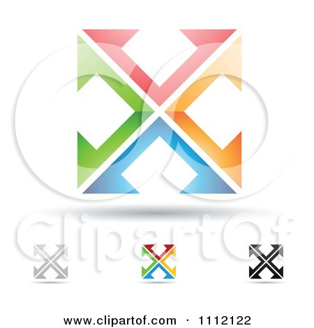 Clipart Abstract Letter X Icons With Shadows 2 - Royalty Free Vector Illustration by cidepix
