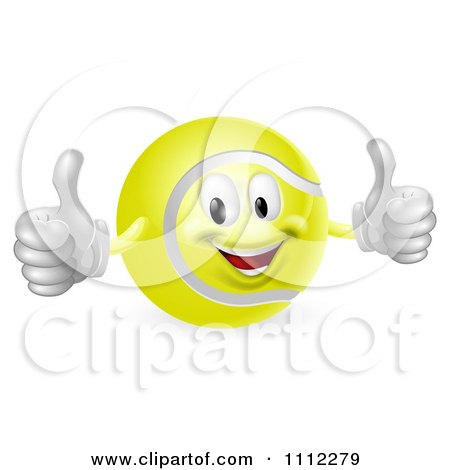 Clipart 3d Tennis Ball Mascot Holding Two Thumbs Up - Royalty Free Vector Illustration by AtStockIllustration