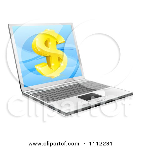 Clipart 3d Gold Dollar Symbol On A Laptop Screen - Royalty Free Vector Illustration by AtStockIllustration