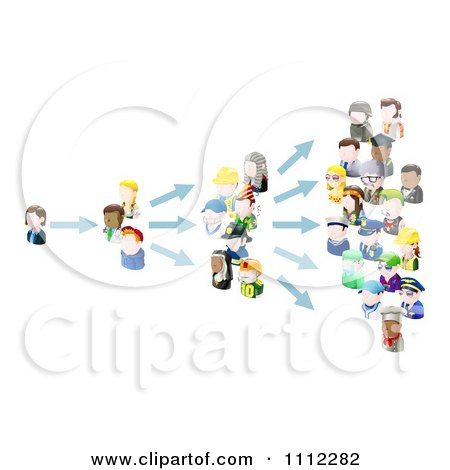 Clipart 3d People Avatars Spreading An Idea - Royalty Free Vector Illustration by AtStockIllustration