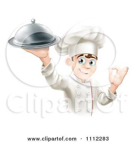 Clipart Happy Young Male Chef Holding A Platter And Gesturing Ok - Royalty Free Vector Illustration by AtStockIllustration
