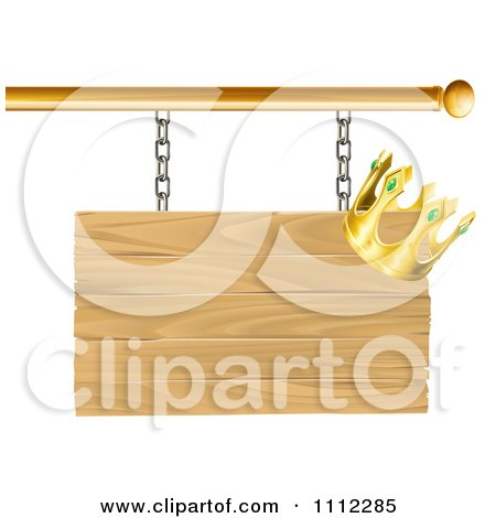 Clipart 3d Wooden Shingle Sign With A Crown - Royalty Free Vector Illustration by AtStockIllustration