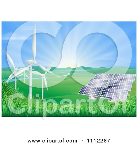 Clipart The Sun Shining Over A Valley With Solar Panels And Wind Energy Turbines - Royalty Free Vector Illustration by AtStockIllustration