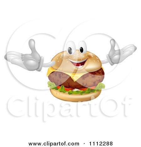 Clipart Happy Cheeseburger Mascot - Royalty Free Vector Illustration by AtStockIllustration