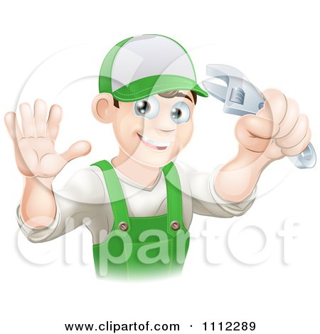 Clipart Happy Male Worker Holding A Thumb Up And A Wrench - Royalty Free Vector Illustration by AtStockIllustration