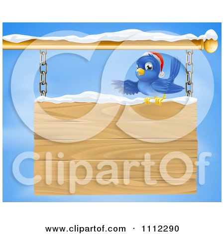 Clipart Christmas Bluebird Perched In Snow And Presenting A Hanging Wood Sign Against A Sky - Royalty Free Vector Illustration by AtStockIllustration