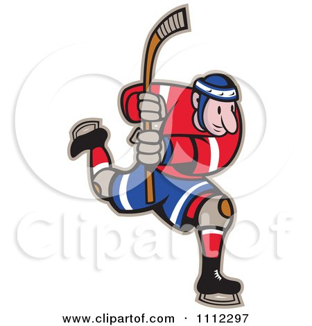 Clipart Hockey Player Skating And Holding Up A Stick - Royalty Free Vector Illustration by patrimonio