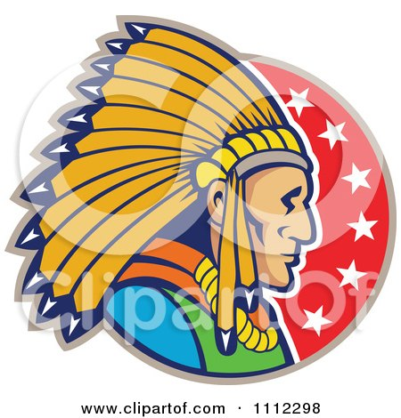 Clipart Retro Native American Indian Chief Man In Profile Over A Circle Of Stars - Royalty Free Vector Illustration by patrimonio