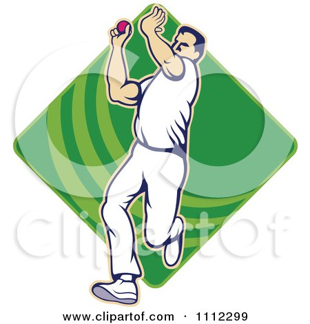 Clipart Cricket Player Bowling With A Ball Over A Green Diamond - Royalty Free Vector Illustration by patrimonio