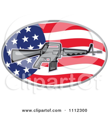 Clipart Armalite M-16 Colt AR-15 Assault Rifle Over An American Flag Oval - Royalty Free Vector Illustration by patrimonio