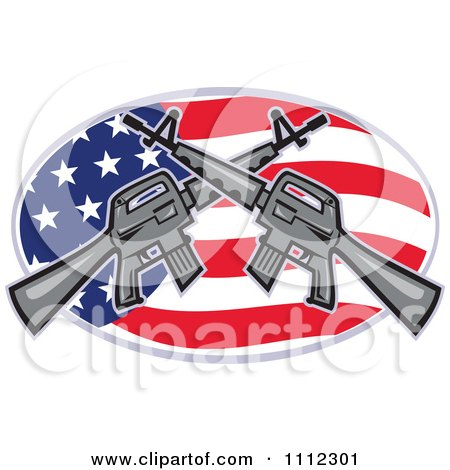 Clipart Armalite M-16 Colt Ar-15 Assault Rifles Crossed Over An American Flag Oval - Royalty Free Vector Illustration by patrimonio