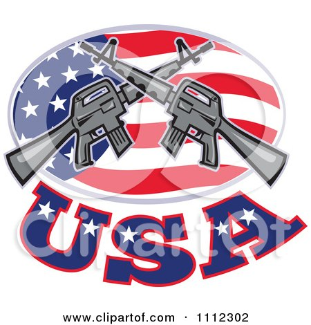 Clipart Armalite M-16 Colt Ar-15 Assault Rifles Crossed Over An American Flag Oval With USA Text - Royalty Free Vector Illustration by patrimonio