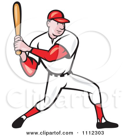 Clipart Baseball Player Athlete Batting Royalty Free Vector Illustration
