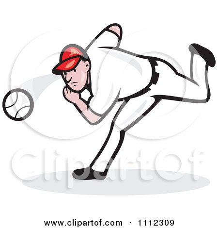 Clipart Baseball Player Pitcher Throwing The Ball - Royalty Free Vector Illustration by patrimonio
