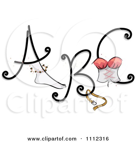 Clipart Feminine Alphabet Letters A B And C - Royalty Free Vector Illustration by BNP Design Studio