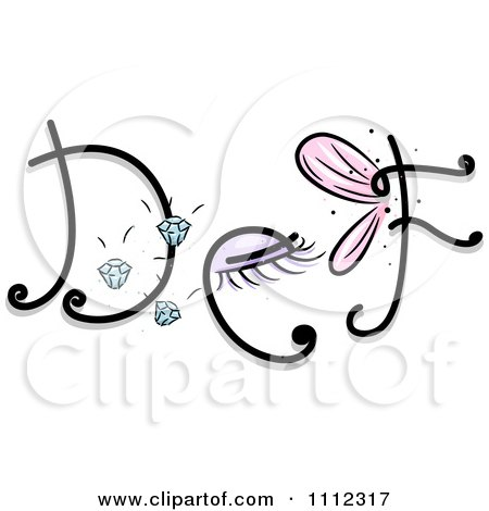 Clipart Feminine Alphabet Letters D E And F - Royalty Free Vector Illustration by BNP Design Studio