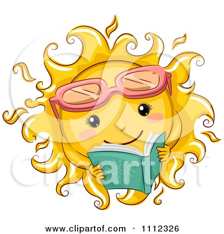 Clipart Happy Sun With Sunglasses Reading A Book - Royalty Free Vector Illustration by BNP Design Studio