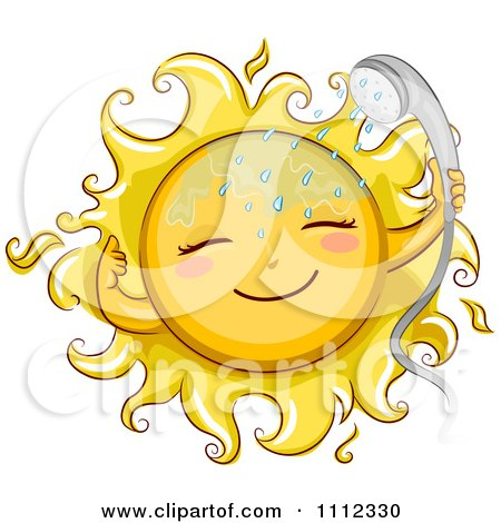 Clipart Happy Sun With A Shower Head - Royalty Free Vector Illustration by BNP Design Studio