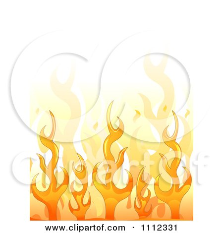 Clipart Background Of Orange Flames With White Copyspace - Royalty Free Vector Illustration by BNP Design Studio