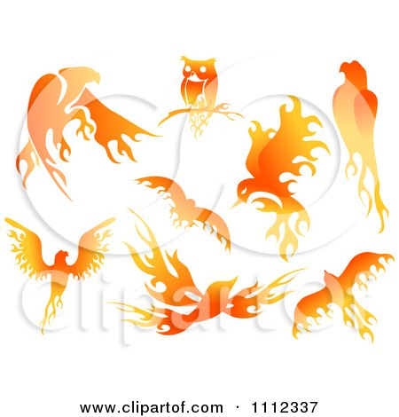 Clipart Flame Design Elements Forming Birds 1 - Royalty Free Vector Illustration by BNP Design Studio