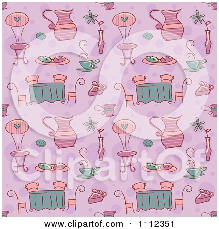 Clipart Seamless Purple Tea Party Background Pattern - Royalty Free Vector Illustration by BNP Design Studio