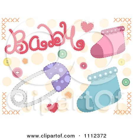 Clipart Baby Text With Socks And A Pin - Royalty Free Vector Illustration by BNP Design Studio