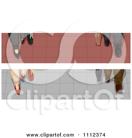 Clipart Website Blog Headers Of Business Feet On Tiled Flooring - Royalty Free Vector Illustration by BNP Design Studio