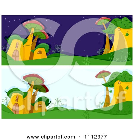 Clipart Website Blog Headers Of Whimsical Msuhroom Houses - Royalty Free Vector Illustration by BNP Design Studio