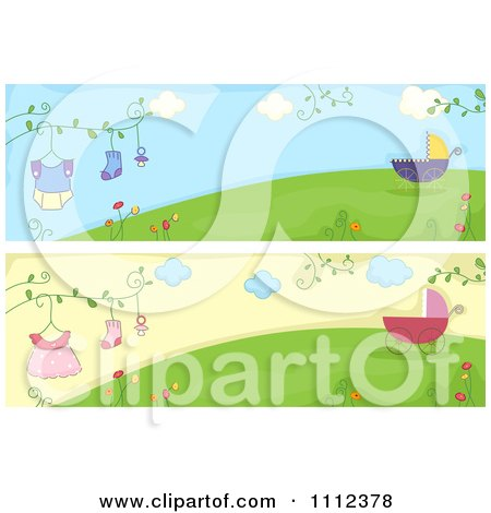 Clipart Website Headers Of Baby Strollers And Clothing On A Hill - Royalty Free Vector Illustration by BNP Design Studio