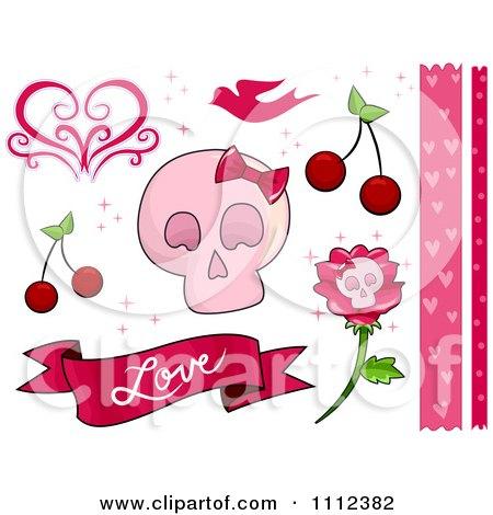 Clipart Pink Feminine Skull And Love Border And Design Elements - Royalty Free Vector Illustration by BNP Design Studio