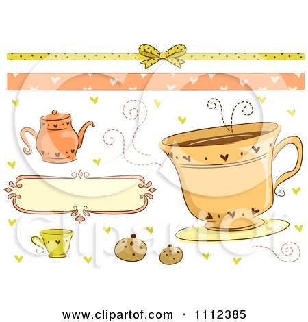 Clipart Tea Time Border And Design Elements - Royalty Free Vector Illustration by BNP Design Studio