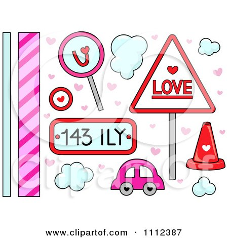 Clipart Love And Transportation And Border Design Elements - Royalty Free Vector Illustration by BNP Design Studio