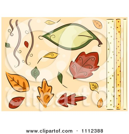 Clipart Autumn Leaves And Border Design Elements - Royalty Free Vector ...