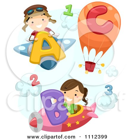 Clipart Happy Kids With Airplanes A Hot Air Balloon Letters And Numbers - Royalty Free Vector Illustration by BNP Design Studio