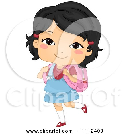 Clipart Cute Happy Asian School Girl Carrying A Backpack - Royalty Free Vector Illustration by BNP Design Studio