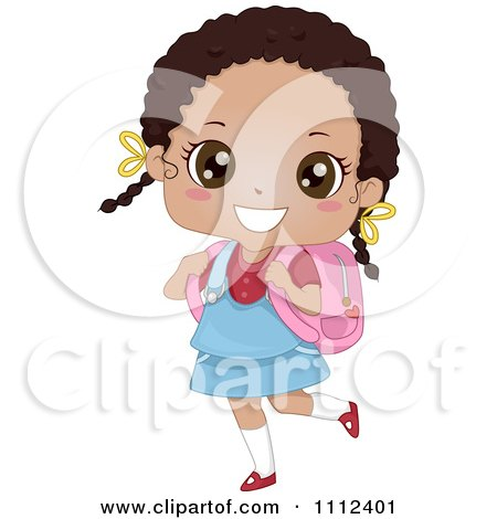Clipart Cute Happy African American School Girl Carrying A Book Bag - Royalty Free Vector Illustration by BNP Design Studio