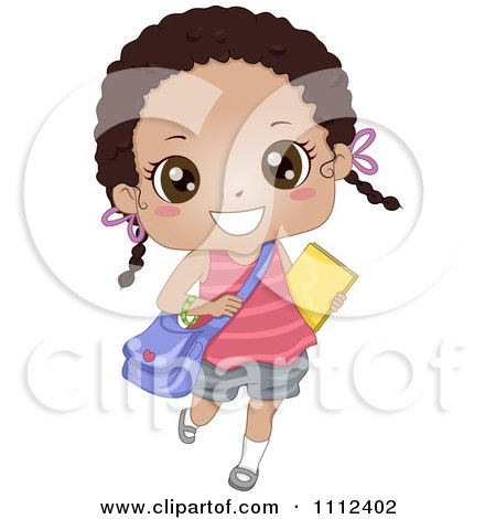 Clipart Cute Happy African American School Girl Carrying A Book And Bag - Royalty Free Vector Illustration by BNP Design Studio