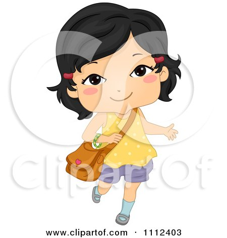 Cute Happy Asian School Girl Carrying A Bag Posters, Art Prints