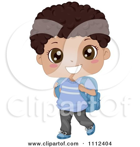 Clipart Cute Happy Black School Boy Carrying A Backpack - Royalty Free Vector Illustration by BNP Design Studio