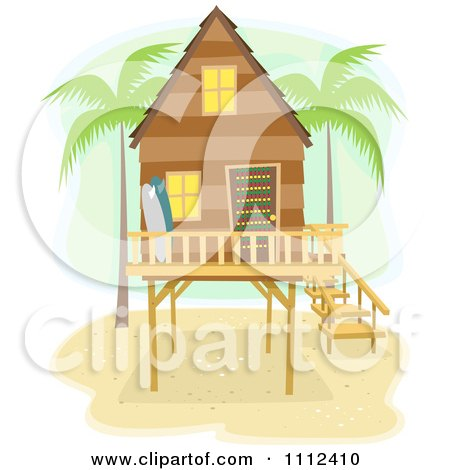 Clipart Beach House On Stilts With Palm Trees And Surf Boards - Royalty Free Vector Illustration by BNP Design Studio