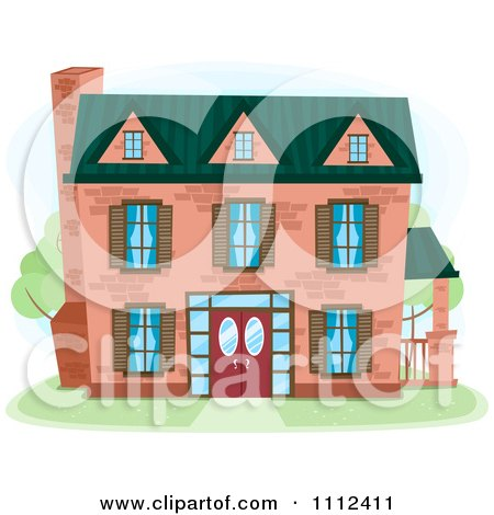 Clipart Three Story Brick House - Royalty Free Vector Illustration by BNP Design Studio