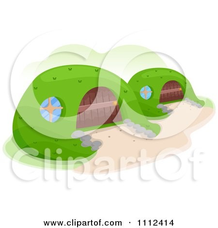 Clipart Earth Shelter Homes - Royalty Free Vector Illustration by BNP Design Studio