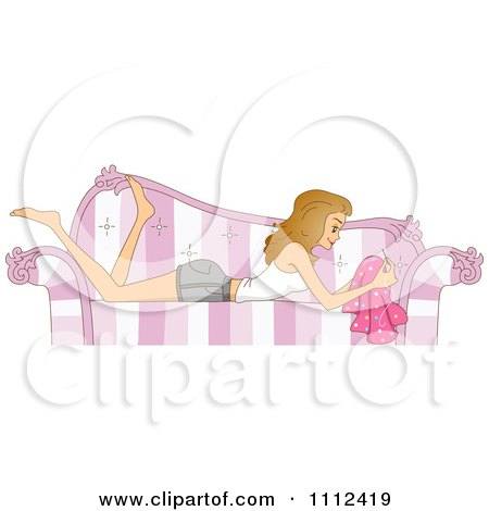 Blog Header Of A Woman Sewing On A Striped Couch Posters, Art Prints