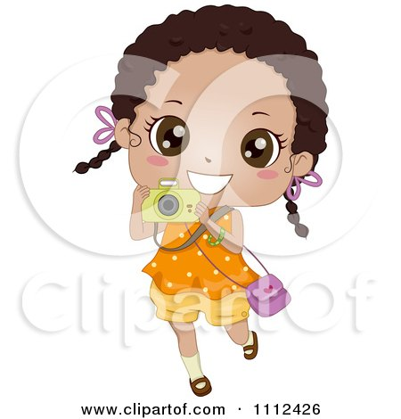 Clipart Cute Happy African American Girl Using A Camera - Royalty Free Vector Illustration by BNP Design Studio