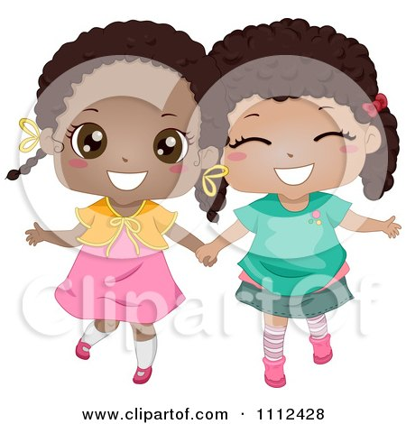 Two Cute Happy Black Girls Holding Hands Posters, Art Prints