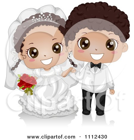 Clipart Happy Cute Black Kid Wedding Couple - Royalty Free Vector Illustration by BNP Design Studio