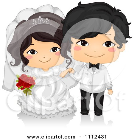 Clipart Happy Cute Asian Kid Wedding Couple Royalty Free Vector Illustration